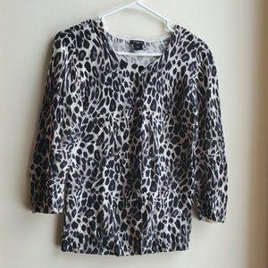 Ann Taylor Leopard Cardigan Size Small